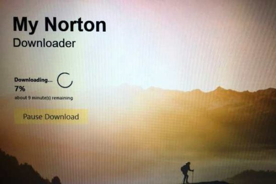 Norton's installer in progress