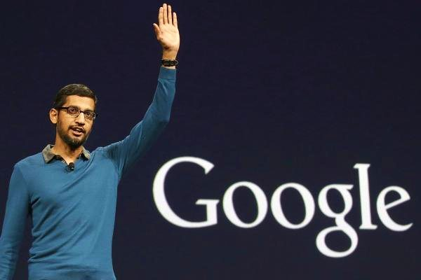Google CEO Sundar Pichai making an announcement