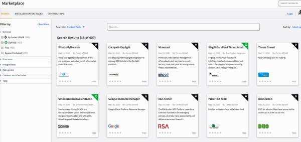 Cortex XSOAR Marketplace screen shot